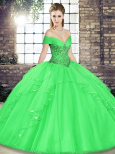High Class Tulle Sleeveless Floor Length Sweet 16 Dress and Beading and Ruffles