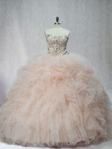 Champagne Sleeveless Beading and Ruffles Sweet 16 Quinceanera Dress