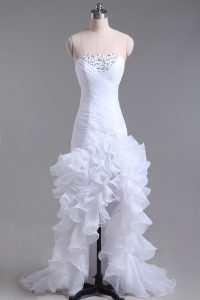 Deluxe White Organza Zipper Wedding Gowns Sleeveless High Low Beading and Ruffles