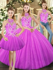 Custom Made Lilac Lace Up Sweet 16 Quinceanera Dress Embroidery Sleeveless Floor Length