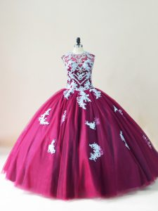 Most Popular Burgundy Sleeveless Tulle Lace Up Ball Gown Prom Dress for Sweet 16 and Quinceanera