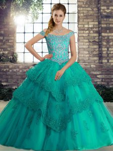 Turquoise Quince Ball Gowns Off The Shoulder Sleeveless Brush Train Lace Up