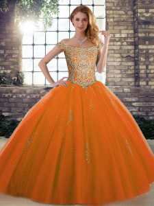 High Quality Orange Red Ball Gowns Off The Shoulder Sleeveless Tulle Floor Length Lace Up Beading Ball Gown Prom Dress