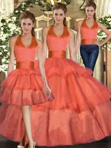 Sleeveless Floor Length Ruffled Layers Lace Up Sweet 16 Quinceanera Dress with Orange