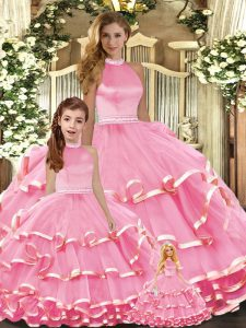 Organza Sleeveless Floor Length Vestidos de Quinceanera and Beading and Ruffled Layers