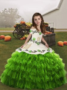 Latest Sleeveless Organza Floor Length Lace Up Girls Pageant Dresses in Green with Embroidery and Ruffled Layers