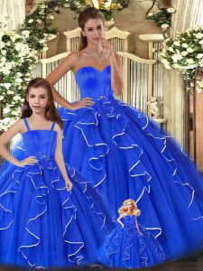 Blue Ball Gowns Sweetheart Sleeveless Tulle Floor Length Lace Up Beading and Ruffles Sweet 16 Dress