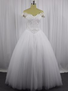 Dramatic Tulle Sleeveless Floor Length Wedding Gown and Beading and Lace
