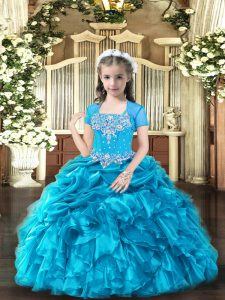 Sleeveless Organza Floor Length Lace Up Custom Made Pageant Dress in Baby Blue with Beading and Ruffles