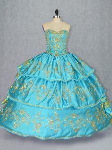 Baby Blue Sweetheart Lace Up Embroidery and Ruffled Layers 15 Quinceanera Dress Sleeveless
