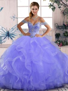 Off The Shoulder Sleeveless Lace Up 15th Birthday Dress Lavender Tulle