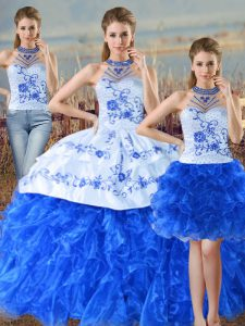 Blue And White Sleeveless Embroidery and Ruffles Floor Length Quinceanera Dresses