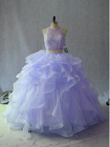 Clearance Lavender Sleeveless Organza Backless Quince Ball Gowns for Sweet 16 and Quinceanera
