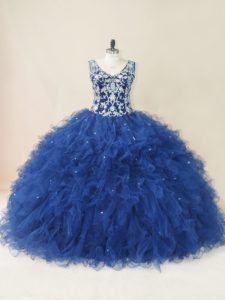 Amazing Embroidery and Ruffles 15th Birthday Dress Navy Blue Backless Sleeveless Floor Length
