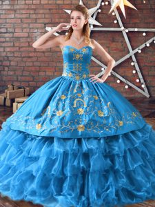 Blue Lace Up Sweet 16 Dresses Embroidery and Ruffled Layers Sleeveless Floor Length