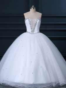 High End White Wedding Dress Wedding Party with Beading Sweetheart Sleeveless Brush Train Lace Up