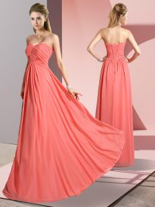 Extravagant Watermelon Red Empire Ruching Prom Party Dress Lace Up Chiffon Sleeveless Floor Length