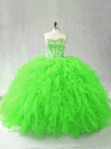 Nice Floor Length Quinceanera Gowns Tulle Sleeveless Beading and Ruffles