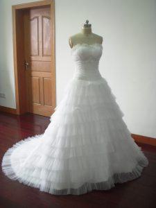 Deluxe White Sleeveless Beading and Ruffled Layers Lace Up Wedding Gown