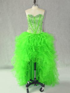 Clearance Sleeveless Lace Up High Low Beading and Ruffles Dress for Prom