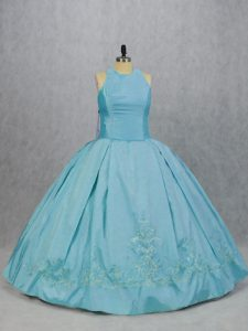 Elegant Sleeveless Floor Length Embroidery Quinceanera Dress with Blue