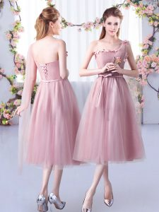Popular Tulle One Shoulder Sleeveless Lace Up Appliques and Belt Dama Dress for Quinceanera in Pink