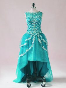 Designer Teal Scoop Neckline Beading and Appliques Prom Party Dress Sleeveless Zipper