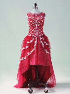 Affordable Wine Red A-line Tulle Scoop Sleeveless Beading and Appliques High Low Zipper Prom Dresses