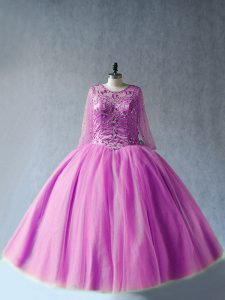 Perfect Floor Length Lace Up Ball Gown Prom Dress Lilac for Sweet 16 and Quinceanera with Beading