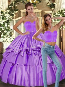 Popular Satin Sweetheart Sleeveless Backless Ruffled Layers Sweet 16 Dresses in Lilac