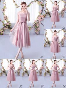 Captivating Tea Length Lace Up Damas Dress Pink for Wedding Party with Belt