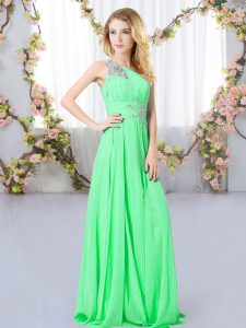 Lovely Sleeveless Chiffon Floor Length Zipper Quinceanera Dama Dress in Green with Beading