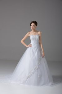 Low Price White Strapless Lace Up Beading and Lace Wedding Gowns Brush Train Sleeveless