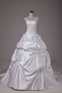 Dynamic White Ball Gowns Taffeta Strapless Sleeveless Embroidery and Pick Ups Lace Up Wedding Dresses Brush Train