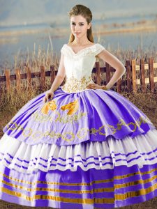 Delicate Floor Length Ball Gowns Sleeveless White And Purple 15 Quinceanera Dress Lace Up