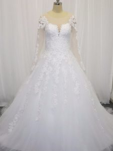 Pretty White Scoop Neckline Beading and Lace Wedding Gown Long Sleeves Zipper