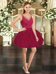 Flare V-neck Sleeveless Backless Prom Dresses Wine Red Tulle