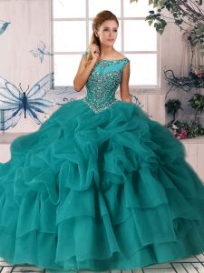 Elegant Teal Sleeveless Organza Brush Train Zipper Ball Gown Prom Dress for Military Ball and Sweet 16 and Quinceanera