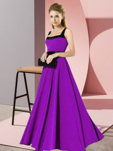 Purple Square Zipper Belt Court Dresses for Sweet 16 Sleeveless
