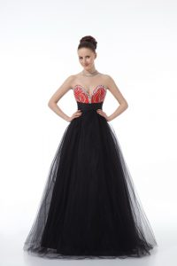 Tulle Sweetheart Sleeveless Zipper Beading Homecoming Dress in Black