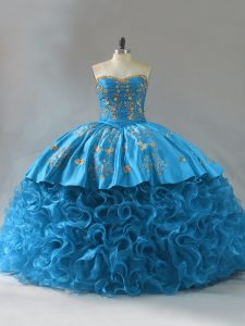 Attractive Embroidery and Ruffles Quinceanera Gowns Blue Lace Up Sleeveless Brush Train