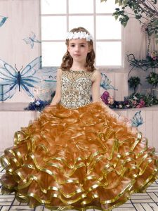 Superior Organza Sleeveless Floor Length Winning Pageant Gowns and Beading and Ruffles