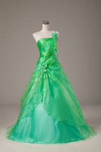 Glorious One Shoulder Sleeveless Quinceanera Dresses Floor Length Hand Made Flower Green Organza