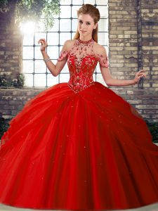 Fancy Red Ball Gowns Tulle Halter Top Sleeveless Beading and Pick Ups Lace Up Sweet 16 Quinceanera Dress Brush Train