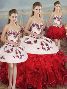Affordable White And Red Ball Gowns Embroidery and Ruffles and Bowknot Vestidos de Quinceanera Lace Up Organza Sleeveless Floor Length