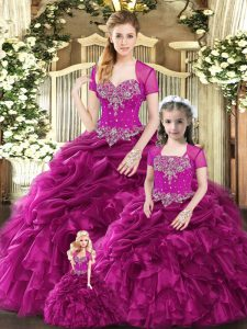 Fuchsia Organza Lace Up Sweetheart Sleeveless Floor Length Quinceanera Dresses Beading and Ruffles and Pick Ups