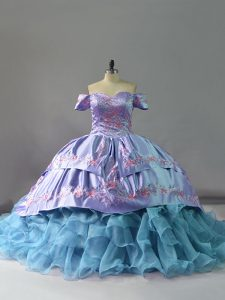 Custom Fit Sleeveless Chapel Train Lace Up Ruffles 15th Birthday Dress