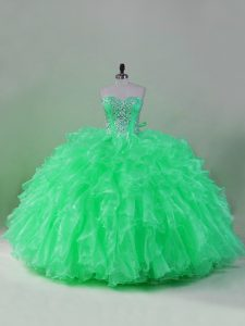 New Style Sweetheart Sleeveless Lace Up Sweet 16 Dresses Green Organza