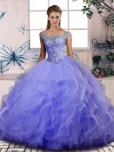 Tulle Off The Shoulder Sleeveless Lace Up Beading and Ruffles Quinceanera Gown in Lavender