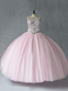 Floor Length Lace Up Quinceanera Gown Baby Pink for Sweet 16 and Quinceanera with Beading